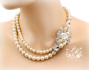 Wedding Necklace Swarovski Pearl Rhinestone Necklace Bridal Necklace Wedding Jewelry Wedding accessory Bridal Jewelry Necklace Aryu Mar