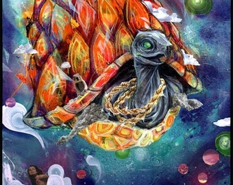 """Turtle Art Print - Mixed Media Art - Wall Art with Collage - - """"Swangin"""" First Ever Collaboration by Black Ink Art"""