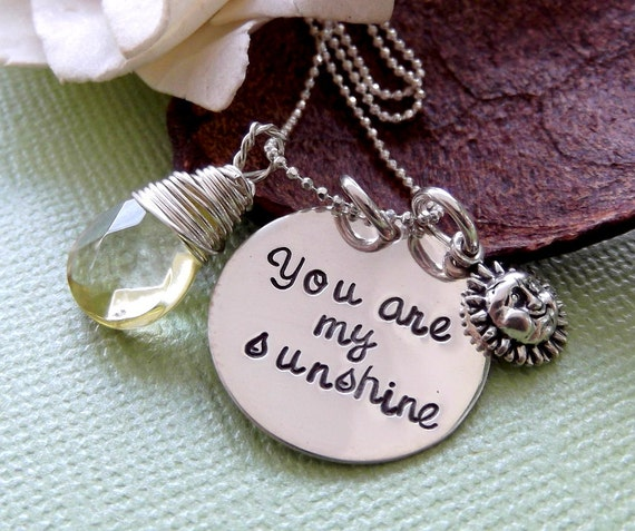 You Are My Sunshine- Sunshine Necklace- Mommy Necklace- New Mommy Necklace- Grandma Necklace- My Sunshine Necklace- Hand Stamped Necklace
