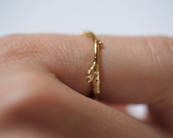Thin Branch Ring, Gold Branch Ring, Thin Gold Stackable Ring, Stacking Ring