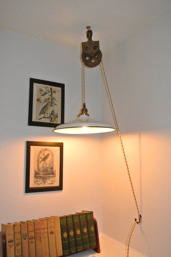 Upcycled Industrial Vintage Pulley Hanging Pendant Light With