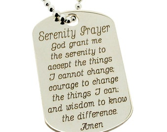 Serenity dog tag etsy serenity prayer sterling silver dog tag large pendant and bead ball chain necklace personalized engraving mozeypictures Images