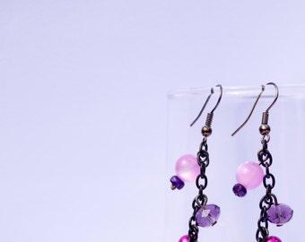 Misty Purple Dream - Violet & Pink Beads, Metal Chain Dangle Earrings