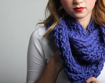 purple chunky knit infinity scarf