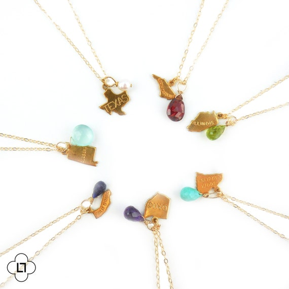 Birthstone and State Charm Necklace