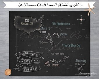 Chalkboard Map, Custom, Wedding Invitation, Destination Wedding, Elopement Announcement, Save The Date, Illustrated Wedding, Elope, Cruise
