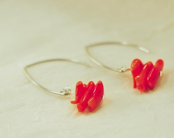 Coral red unique drop earrings – Modern Southwest Jewelry