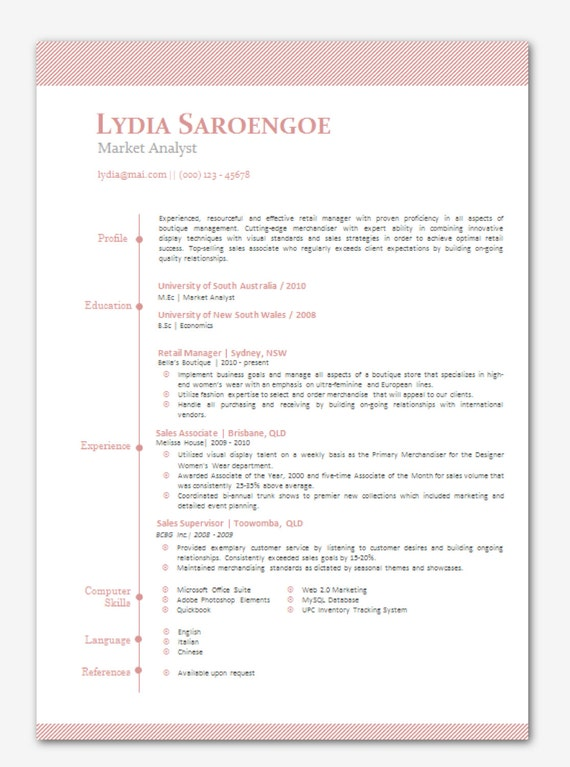 items similar to modern microsoft word resume template - lydia saroengoe