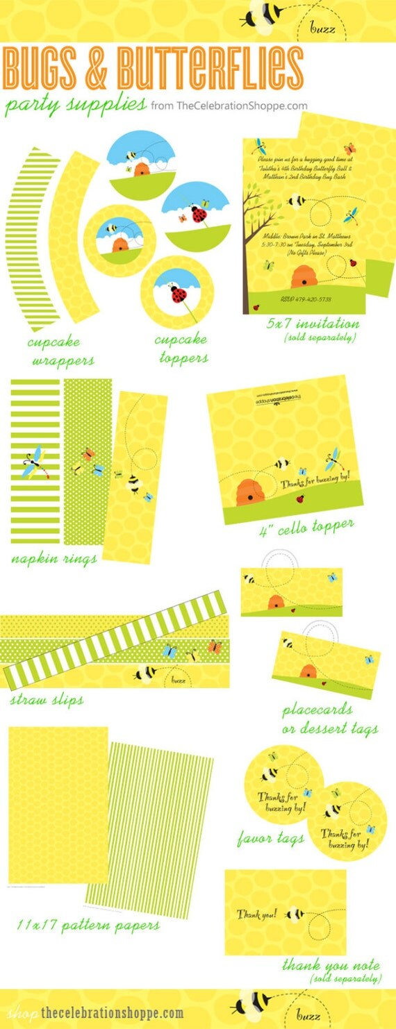 BUGS, BEES and BUTTERFLIES Birthday & Baby Shower Party Supplies | The Celebration Shoppe