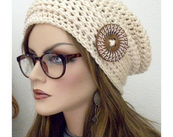 Slouchy Beanie Hat large hand painted button Bohemian Chic Hand Crocheted  winter fashion accessories