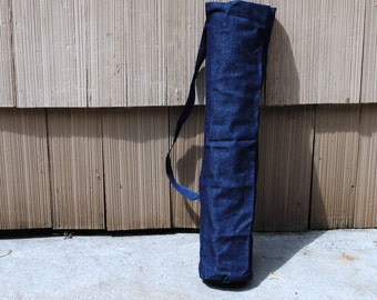 Yoga Mat Tote Bag Denim Indigo Blue Cotton