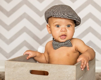 Baby photo prop - baby hat and tie  - Houndstooth wool blend baby hat and bow tie - baby boy photography prop flat cap set - made to order