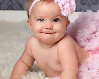 Baby headband, Newborn Headband, Elastic Headband, Newborn Photo prop, Headbands, Baby Girl, Accessories, Pink Flower Headband