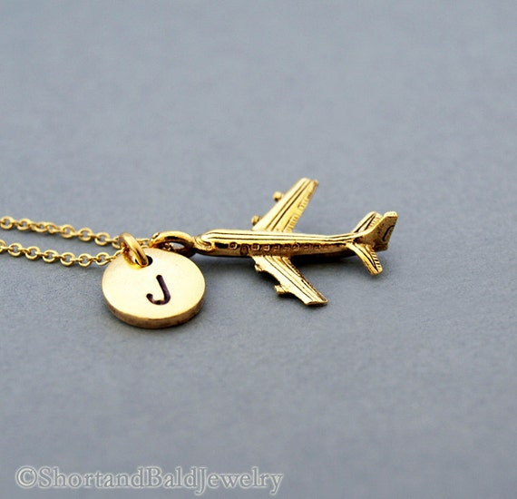 airplane charm necklace jet necklace plane by