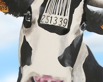 Animal painting portrait painting  Giclee Print Acrylic Painting Illustration Print wall art wall decor Wall Hanging: Barcode cow