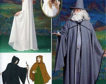Cosplay in Lord of the Rings style: Galadriel, Gandalf, Hobbit Cloak Capes, Tunic & Wizard Hat Sewing Pattern, Simplicity #1582 Size XS-XL