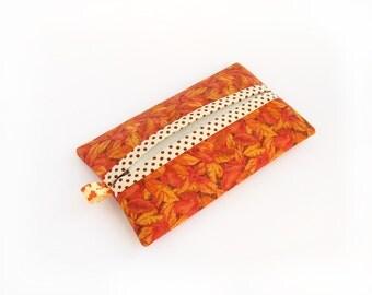 Orange Travel Tissue Case, Pocket Tissue Holder with Autumn Leaves