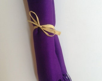 Eggplant Purple Shawl with Raffia Ribbon, 1, Pashmina, Scarf, Wedding Favor, Bridal Shower Gift, Bridesmaids Gift, Wraps, Welcome Bags