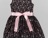 Blush & Black Lace Overlay Dress - Infant, Toddler Girls