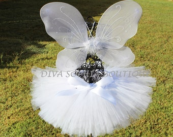 Angel Wings with Tutu -  Butterfly Tutu Set - Newborn - Baby Infant Toddler up to size 4T