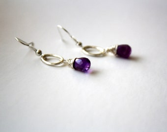 Amethyst Hoop Drop Earrings, Silver, Purple, Faceted Briolettes, Birthstone Jewelry, Gemstone, Semiprecious