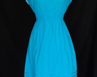 1970s Dress / Bright Blue Boho Hippie Crochet Sundress