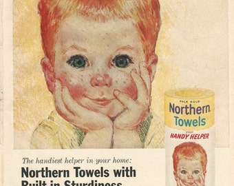 """NORTHERN TOWELS Original 1961 Vintage Extra Large Color Print Ads - Set of 3 """"All American Boys"""" White,Yellow & Pink Boys"""