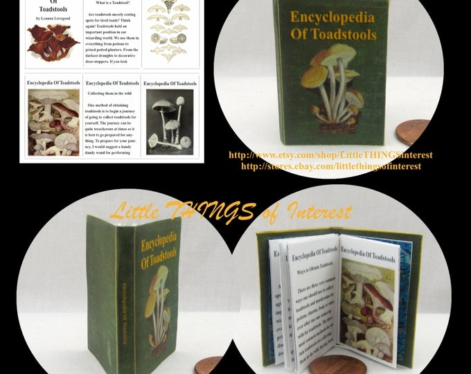 ENCYCLOPEDIA of TOADSTOOLS Magical Textbook in 1:6 Scale - Barbie Scale Readable Illustrated Book Harry Potter
