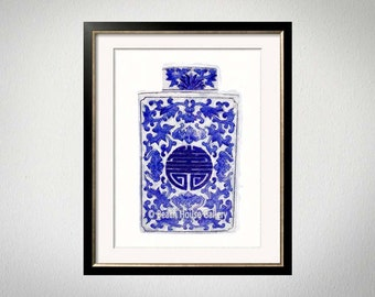 Blue White Vase Print, Chinoiserie Wall Art, Asian Vase, Chinese Pottery Digital Painting, Blue White Art, Palm Beach Chic, Ginger Jar Vase