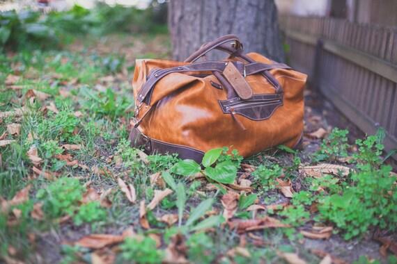 74street Camel Travel Bag, Handmade Travel Bag, Par avion leather bag, Genuine Leather Travel Bag, Gym Leather Bag, Handmade