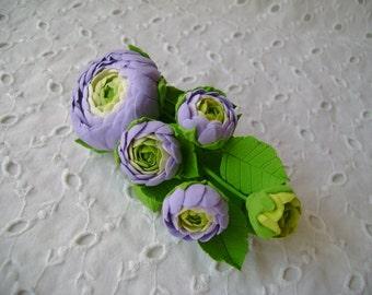 Hair barrette polymer clay flower.  Ranunculus.