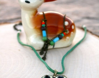 Whimsical Two Tier Colorful Long Owl Necklace - Woodland Owl Pendant Necklace with Feather and Acorn Charms