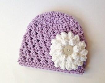Baby Hat - Crocheted Baby Hat - Hat - Purple/White Hat - Photo Prop - Flower Hat - Girl Hat - Knit Hat