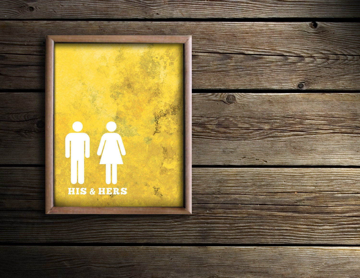 Bathroom wall art bath prints yellow bathroom art his for Paintings for bathroom decoration