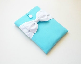 iPad Mini Case,Kindle HD/ Kobo/ eReader/ Nexus 7 Sleeve,Custom Tablet Cover, Lightweight, Handmade and Padded -Turquoise,White Double Bow