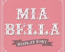 "Romantic Font ""Mia Bella""  // Hand Drawn Display Font // Cute Hearts Girly Feminine // TTF True Type // Digital Download // Commercial Use"