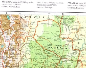 South America Map Etsy - Argentina map vintage
