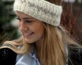 Icelandic wool headband,  Knitted ear warmer, warm headband, cozy, white, oatmeal hearts, lady's size medium, MADE TO ORDER