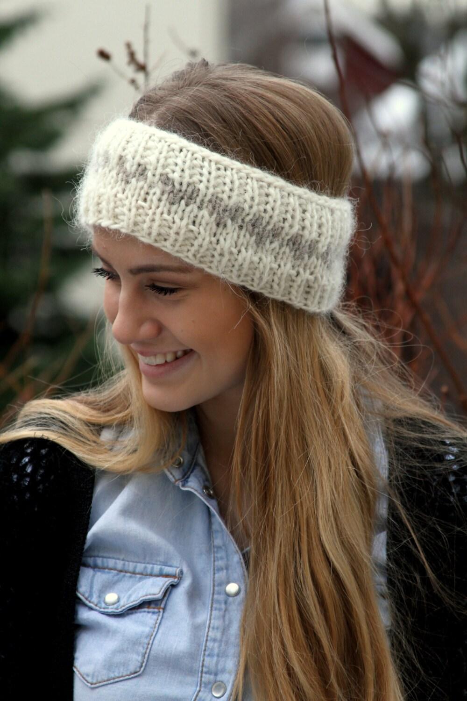 Icelandic Wool Headband Knitted Ear Warmer Warm Headband