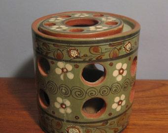 Old Mexican Tonala Pottery Green Burnished Luminary Candleholder Folk Art