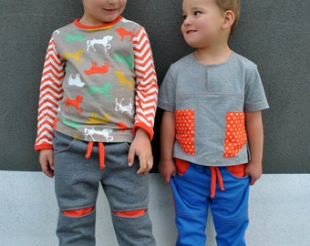 Sewing pattern Roscoe Pants boys pdf sewing pattern, boys pants pattern sizes 2 to 12 years. Children's pdf sewing pattern