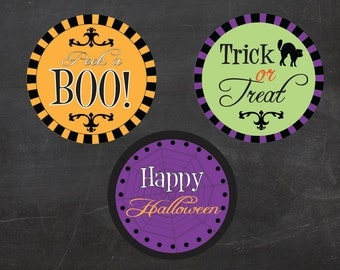 """Halloween - 2"""" Circles - Cupcake toppers/Tags (instant download)"""