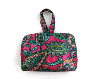 SALE vintage travel bag • cosmetics organizer case • paisley print jewelry bag