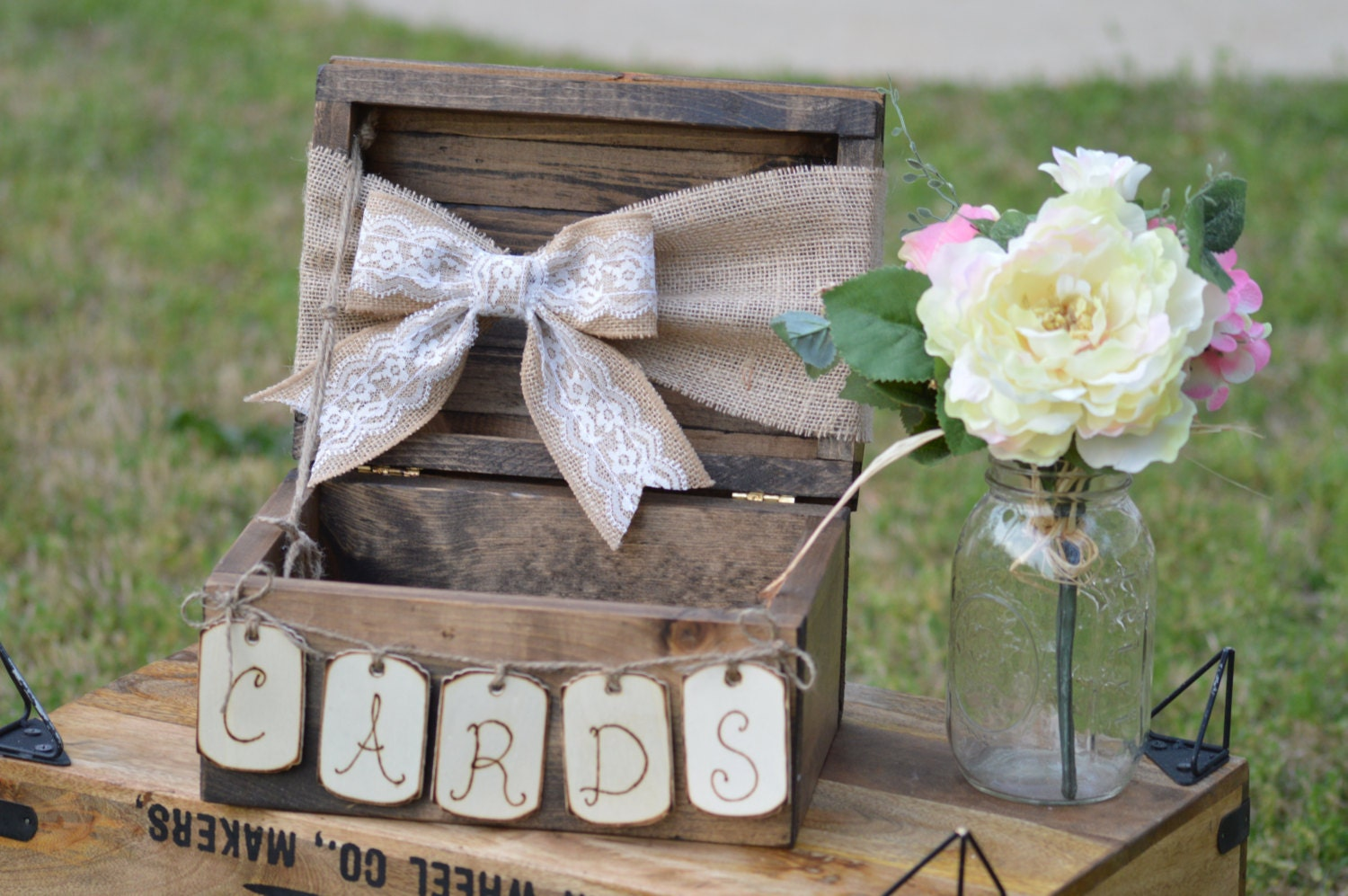 Burlap And Lace Wedding Card Box Shabby Chic