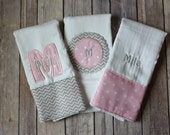 Personalized Baby Girl Burp Cloth Set - Monogrammed with Appliqued Initial and Name, Perfect for Personalized Baby Shower Gift