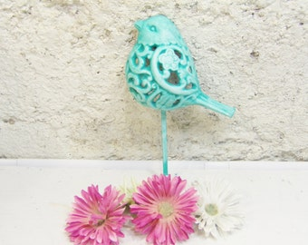 Wall Hook Hand Painted Bird /Metal Cast Iron/ Shabby Wall Hook / Hook / Cast Iron / Princess Bird Hook /Dove Hook/Turquoise Decor