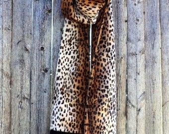 Faux Fur Scarf Winter Scarf - Leopard Print
