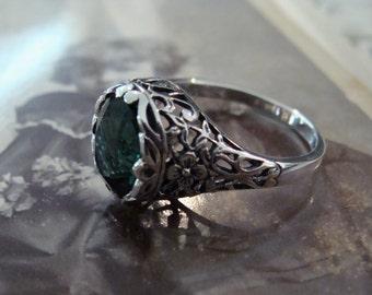 Lovely Sterling Filigree Emerald Ring Size 6 1/2 Antique design