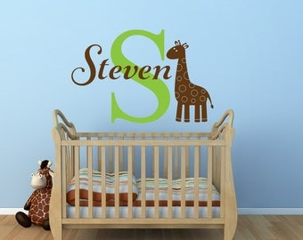 Giraffe Name Wall Decal - Safari Wall Decal Personalized Name Decal Giraffe Nursery Decor - Childrens Name Vinyl Wall Decal Giraffe Decal
