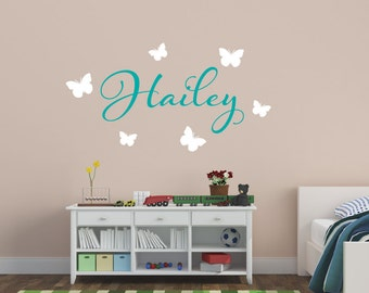 Butterfly Name Wall Decal Girls Name Wall Decal - Girl's Name Decal - Butterfly Wall Decal - Vinyl Wall Decal